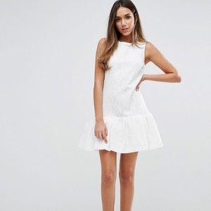ASOS white lace shift + peplum dress